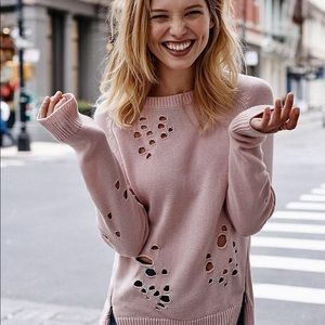EXPRESS Distressed Pink Sweater